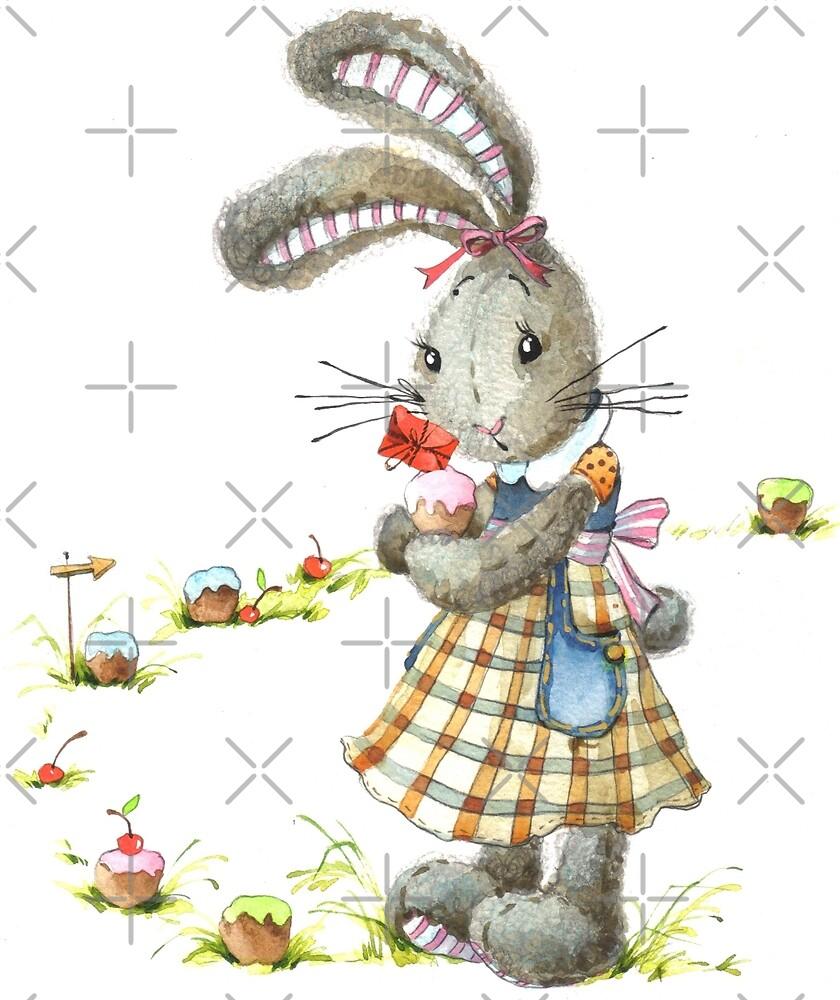 rabbit sweet baker. illustration, watercolor, by Fayankova Alena