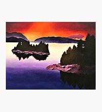 Purple Sunset Landscape Painting Photographic Print