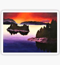 Purple Sunset Landscape Painting Sticker