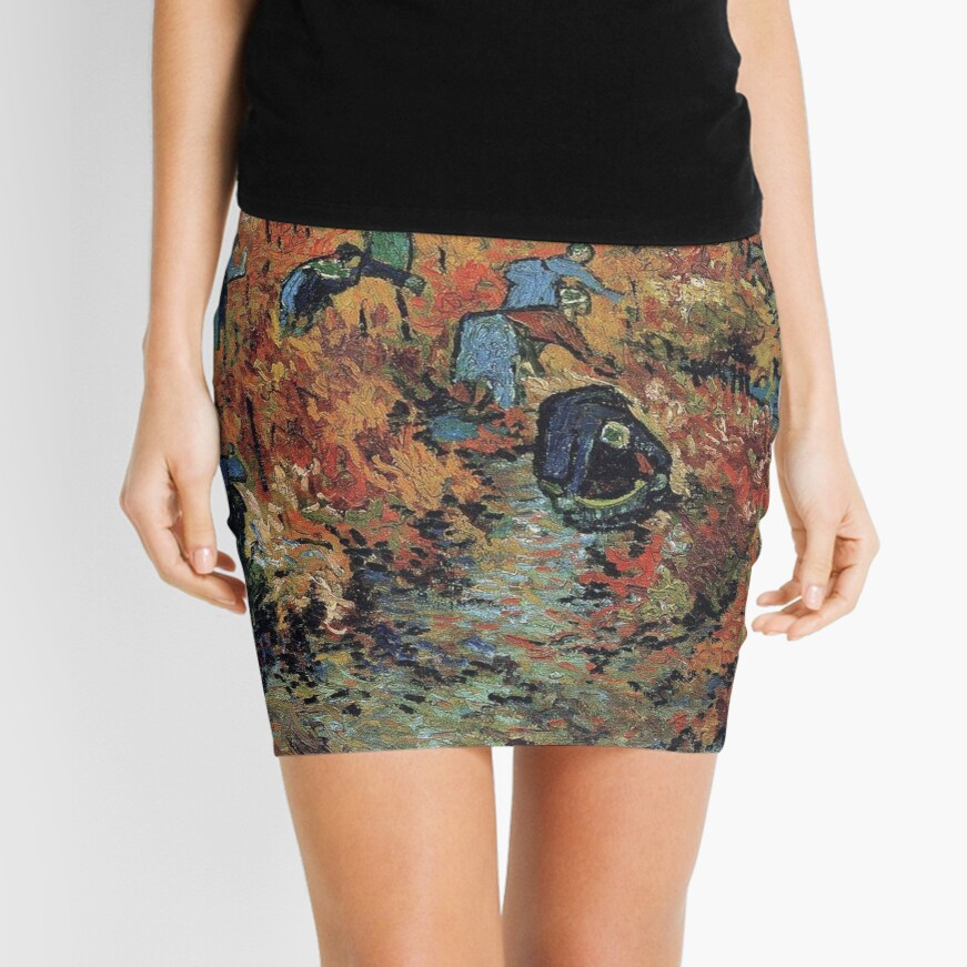 The Red Vineyards Oil Painting on Burlap by Vincent van Gogh Mini Skirt