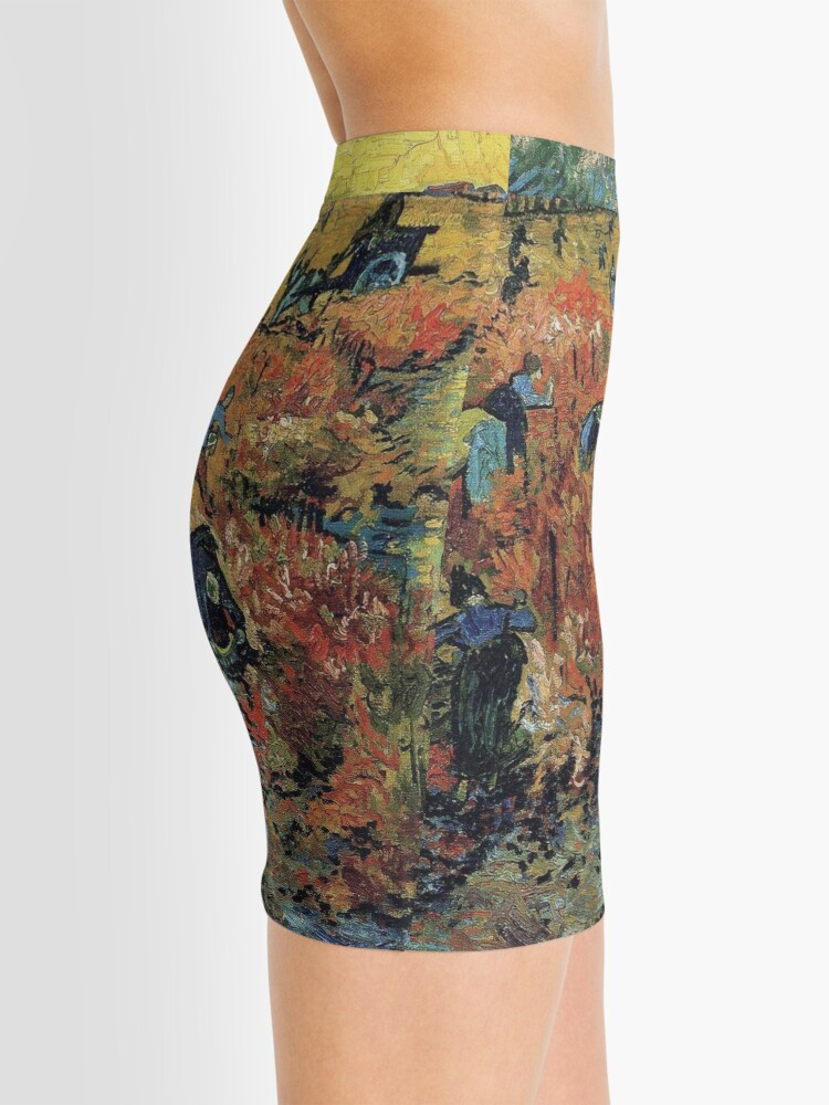 Alternate view of The Red Vineyards Oil Painting on Burlap by Vincent van Gogh Mini Skirt