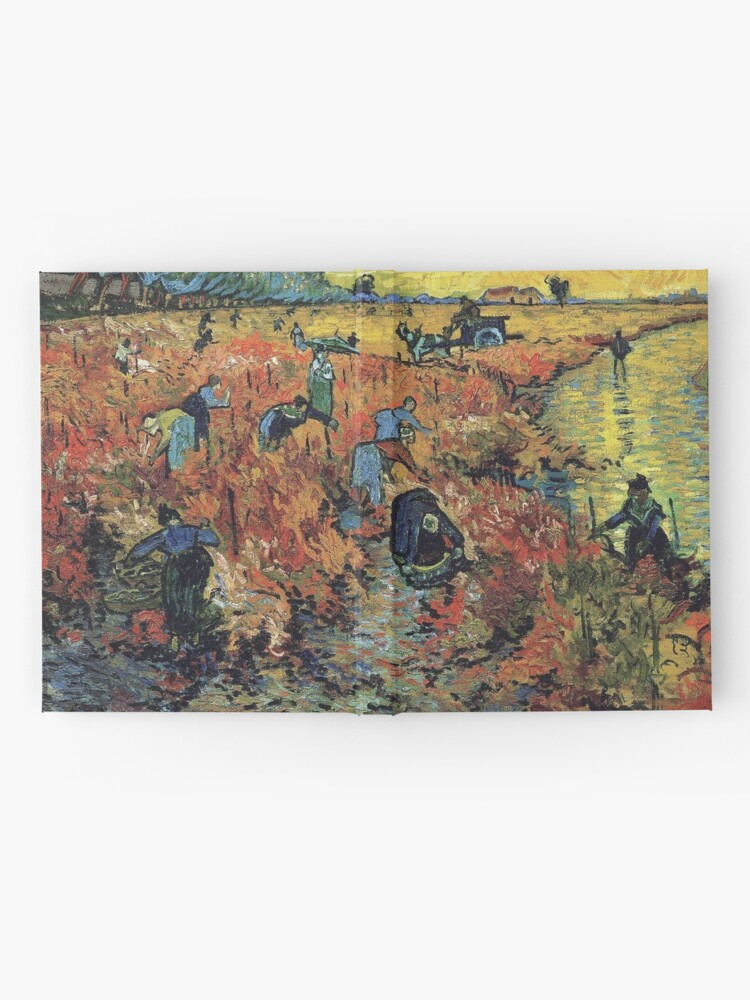 Alternate view of The Red Vineyards Oil Painting on Burlap by Vincent van Gogh Hardcover Journal