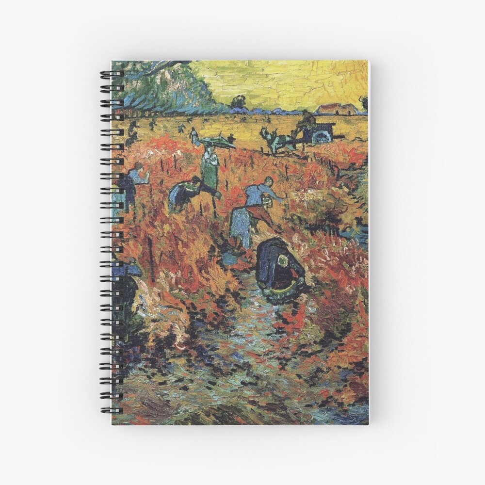 The Red Vineyards Oil Painting on Burlap by Vincent van Gogh Spiral Notebook