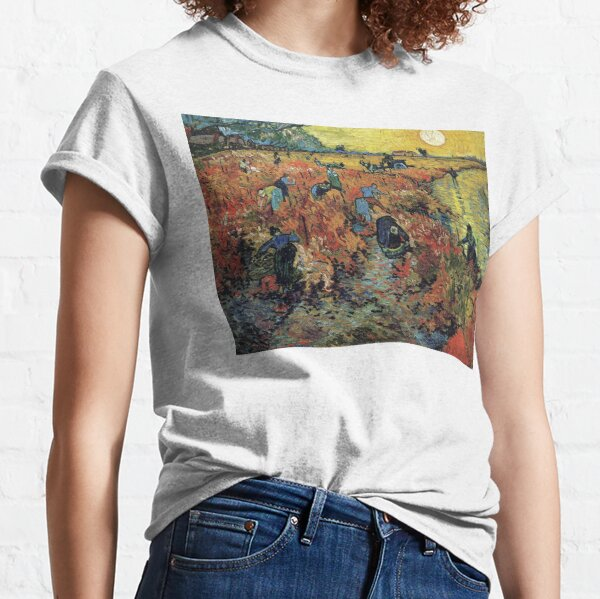 The Red Vineyards Oil Painting on Burlap by Vincent van Gogh Classic T-Shirt