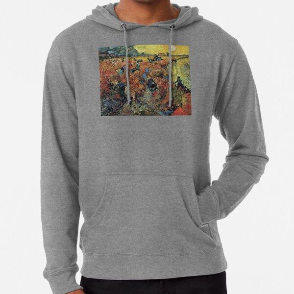 The Red Vineyards Oil Painting on Burlap by Vincent van Gogh Lightweight Hoodie