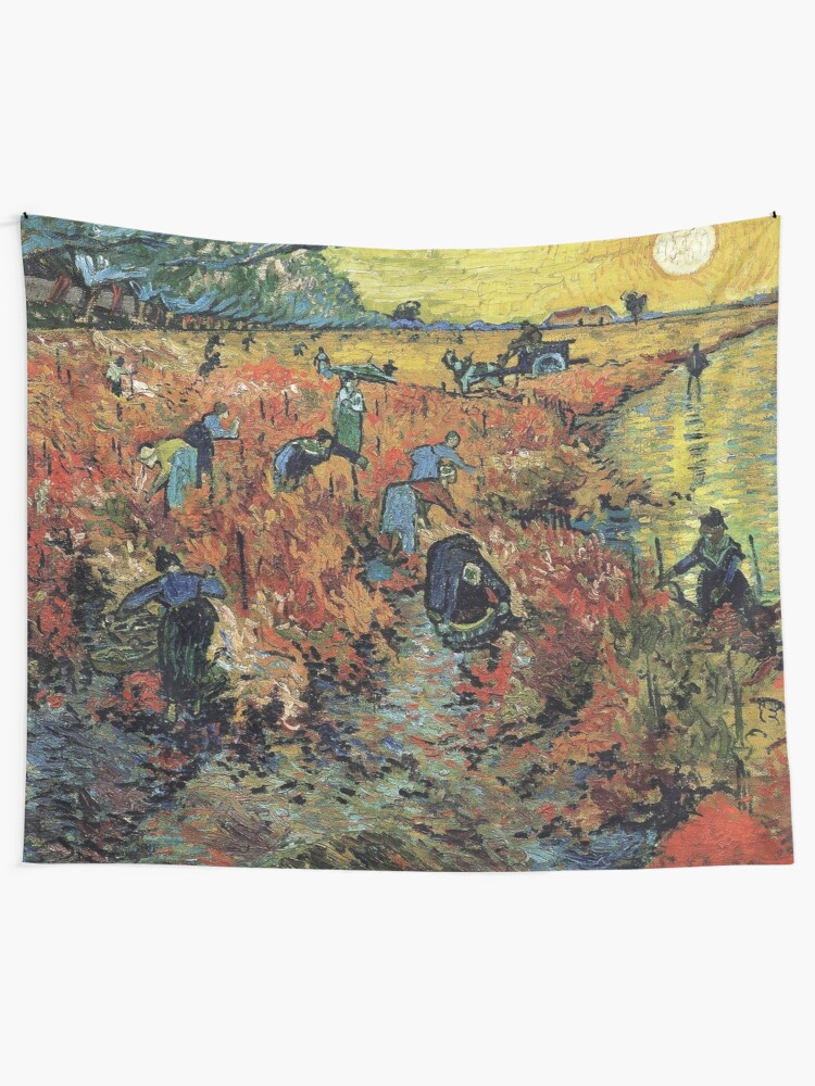 Alternate view of The Red Vineyards Oil Painting on Burlap by Vincent van Gogh Tapestry