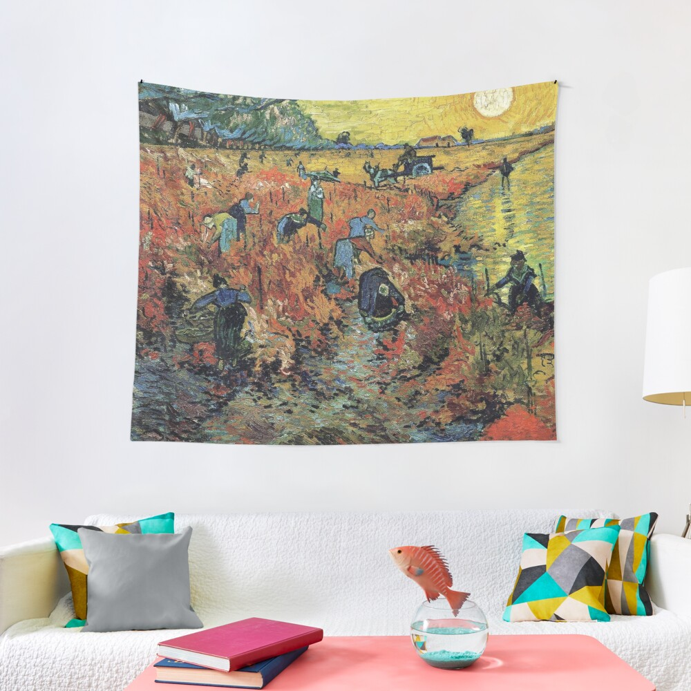 The Red Vineyards Oil Painting on Burlap by Vincent van Gogh Tapestry