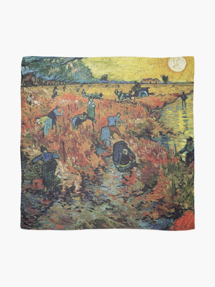 Alternate view of The Red Vineyards Oil Painting on Burlap by Vincent van Gogh Scarf