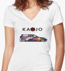 honda civic ef hatchback kanjo style Women's Fitted V-Neck T-Shirt