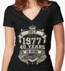 July 1977 40 Years of Being Awesome Women's Fitted V-Neck T-Shirt