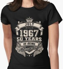 Born In July 1967 50 Years of Being Awesome Women's Fitted T-Shirt
