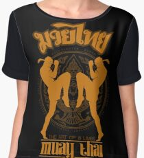 Muay Thai Shadow 2 Twin Fighter -Thailand Martial Art - color Women's Chiffon Top