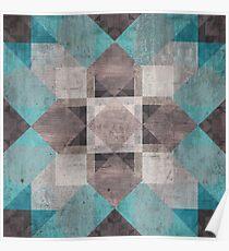 Aqua & Brown Quilt Poster