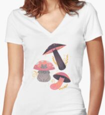 Meowshrooms Women's Fitted V-Neck T-Shirt