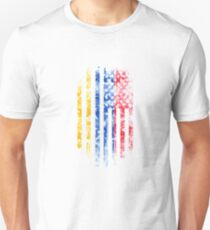 Armenian and American Flag Combo Distressed Design Unisex T-Shirt