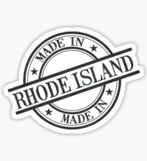 Made In Rhode Island Stamp Style Logo Symbol Black Sticker