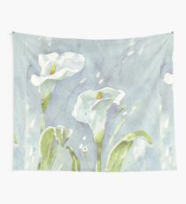 Arum lilies (and fireflies) at night Wall Tapestry