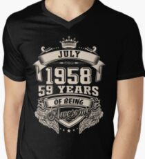 Born In July 1958 59 Years Of Being Awesome Men's V-Neck T-Shirt