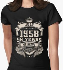 July 1958, 59 Years Of Being Awesome Womens Fitted T-Shirt