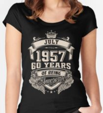 Born In July 1957, 60 Years Of Being Awesome Women's Fitted Scoop T-Shirt