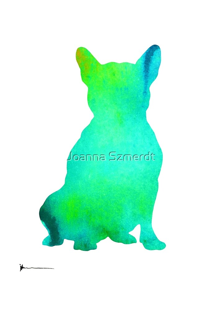 French bulldog drawing watercolor art print by Joanna Szmerdt