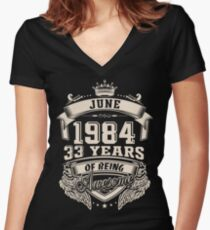 June 1984, 33 Years Of Being Awesome Women's Fitted V-Neck T-Shirt