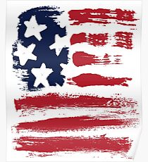 Abstract Stars Stripes Patriotic American Flag Poster