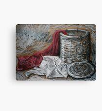 Red Blanket, White Shirt, Woven Basket Canvas Print