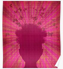 Surreal Head with Butterflies Poster