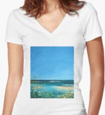 Beautiful Beach Women's Fitted V-Neck T-Shirt