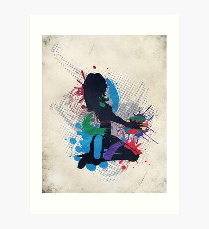 Grunge Illustration einer Musik DJ Kunstdruck