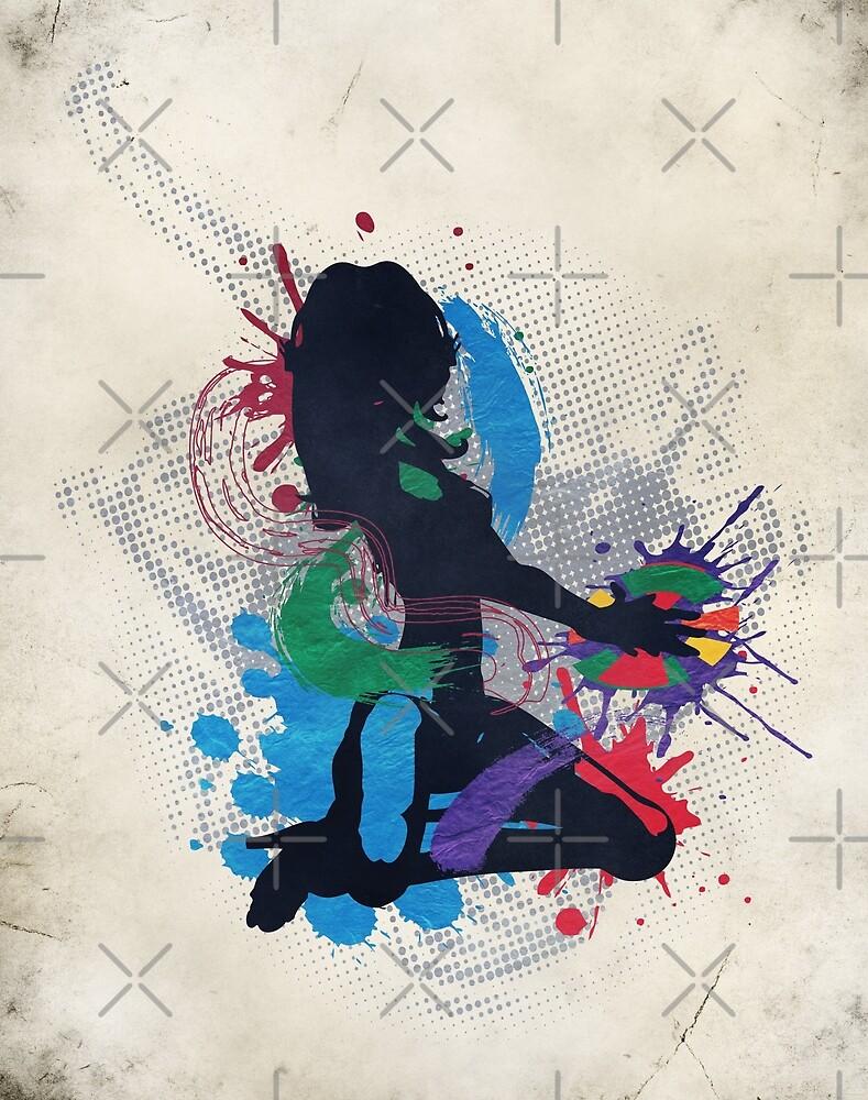 Grunge illustration of a music DJ by AnnArtshock