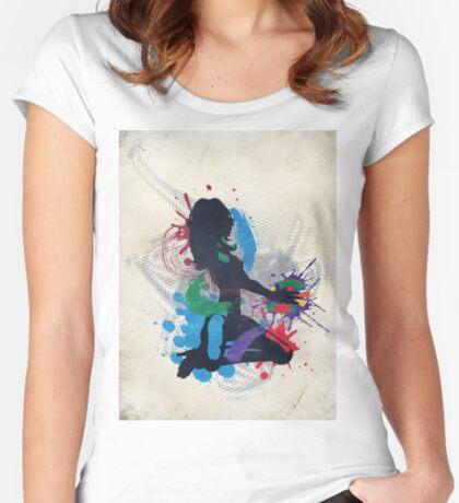 Grunge Illustration einer Musik DJ Tailliertes Rundhals-Shirt