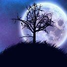 Großer Mond im sternenklaren Raum- und Baumschattenbild von AnnArtshock