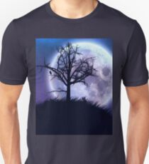 Big moon in the starry space and tree silhouette Unisex T-Shirt