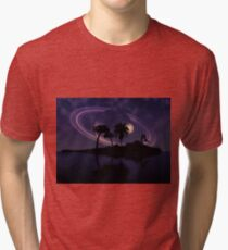 Abstract surreal tropical island silhouette and teen couple 2 Tri-blend T-Shirt