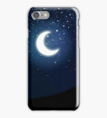 Illustration of night sky with stars and crescent moon iPhone Case/Skin
