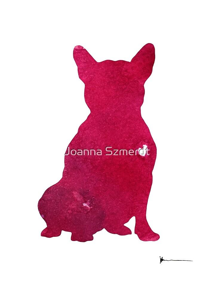 Pink french bulldog art print watercolor painting by Joanna Szmerdt
