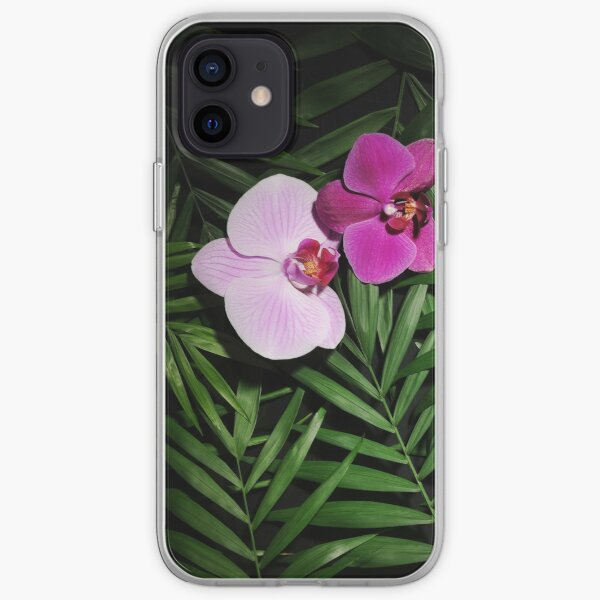 Orchids with palm leaves iPhone Soft Case