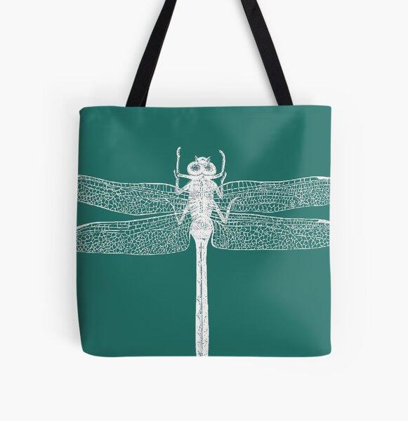Dragonfly (Aqua) All Over Print Tote Bag