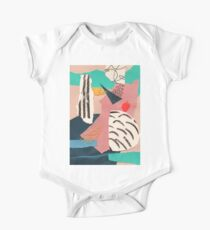 abstract collage with embroidery One Piece - Short Sleeve