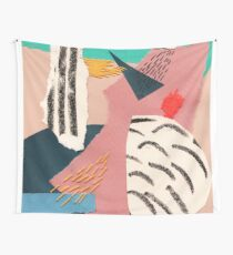 abstract collage with embroidery Wall Tapestry