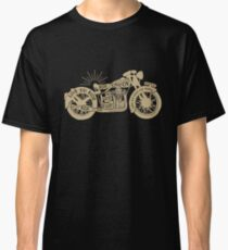 Gold Black Vintage Motorcycle with Quotes Classic T-Shirt