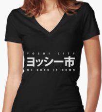 YOSHI市 White Women's Fitted V-Neck T-Shirt