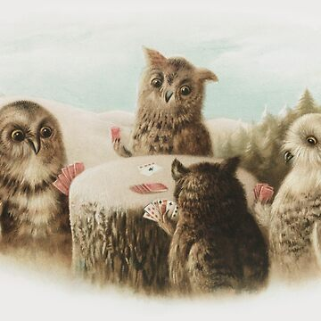 Card Playing Owls by ColorCats