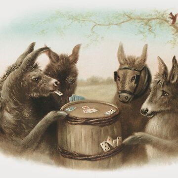 Card Playing Donkeys by ColorCats