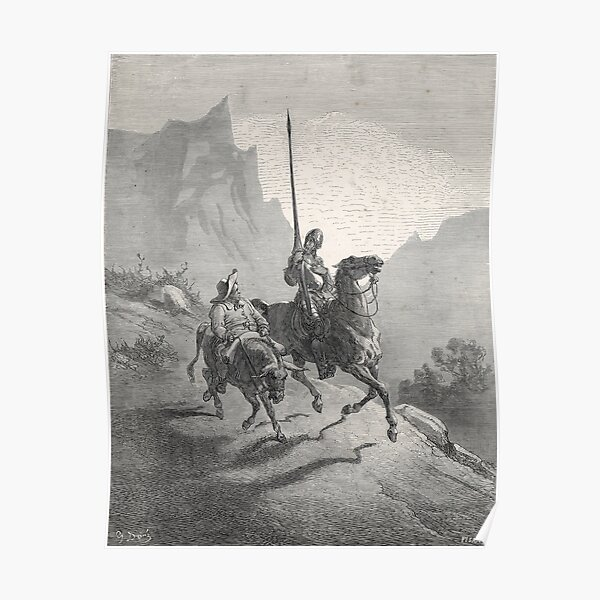 Don Quixote & Sancho Panza by Gustave Dore Poster
