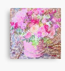 shabby chic painted, peonies, roses,shabby chic, painted, roses, floral,flowers,vintage,victorian,belle epoque,girly,soft,feminine,modern,trendy Canvas Print