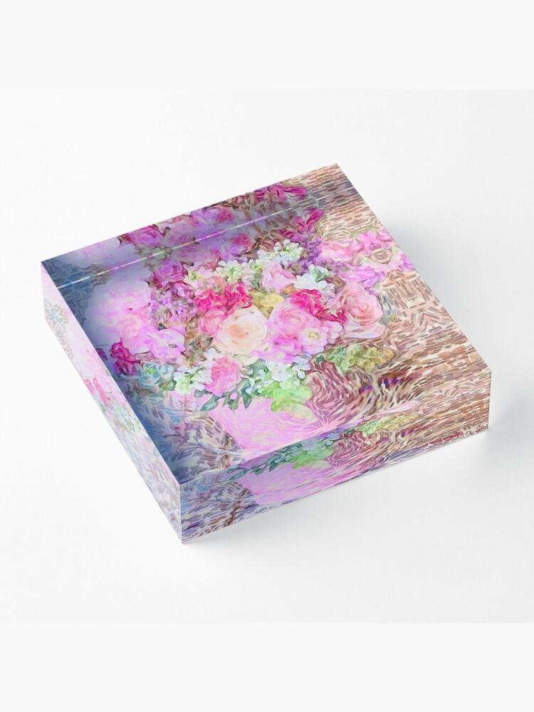 Alternate view of shabby chic painted, peonies, roses,shabby chic, painted, roses, floral,flowers,vintage,victorian,belle epoque,girly,soft,feminine,modern,trendy Acrylic Block