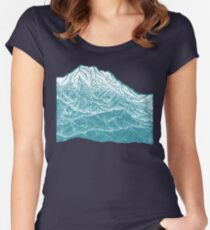 Distant Snow- 遠雪 : linocut Women's Fitted Scoop T-Shirt